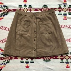 Abercrombie Fitch brown suede mini skirt pocket S